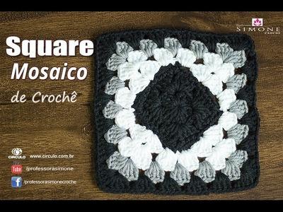 Square Mosaico de Crochê - passo a passo - Professora Simone