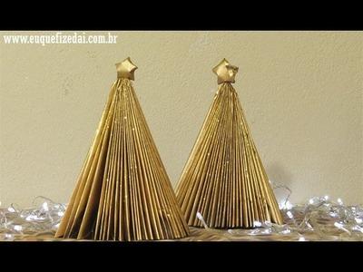 Diy árvore de natal feita com revista