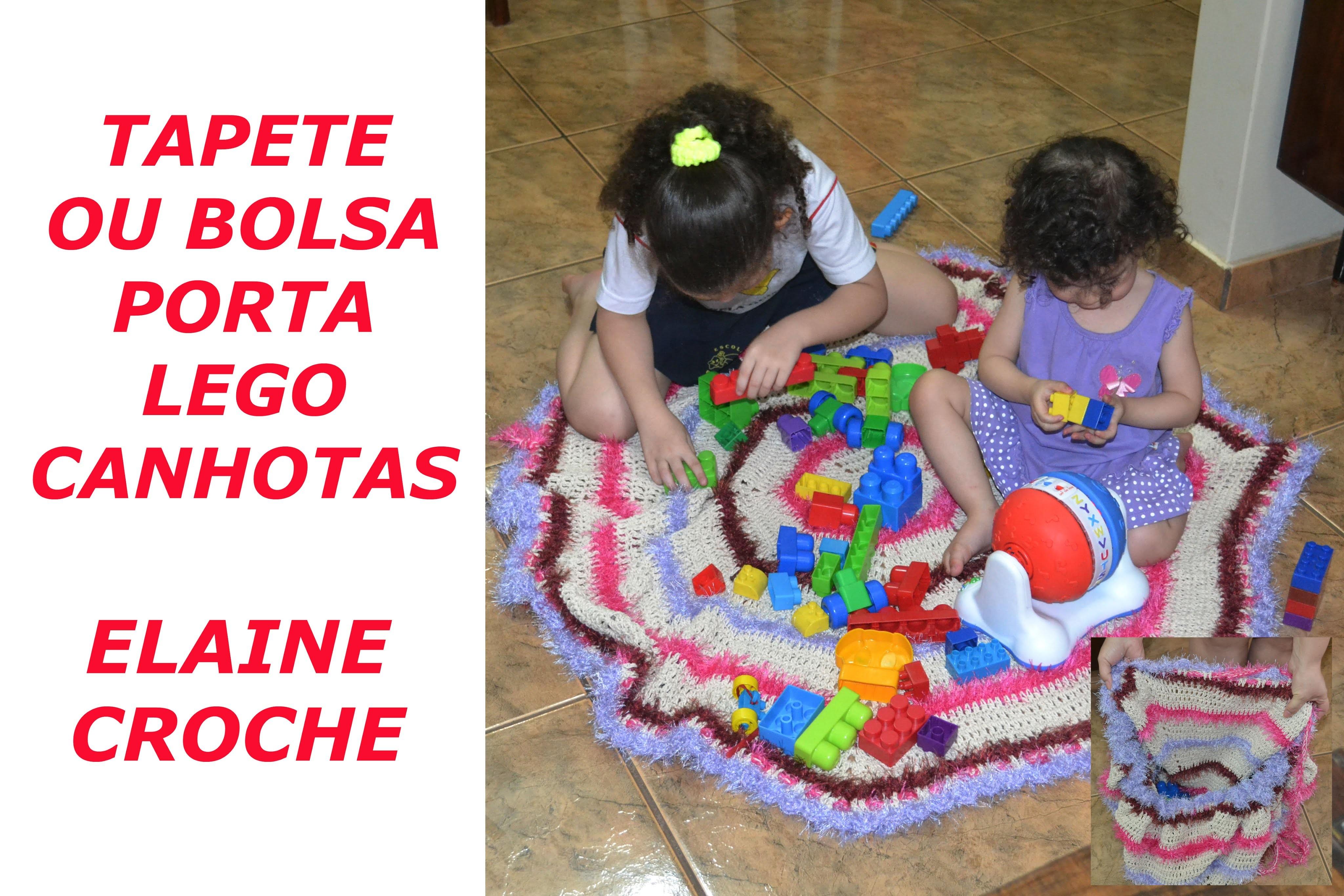 CROCHE PARA CANHOTOS - LEFT HANDED CROCHET - TAPETE OU BOLSA PORTA LEGO CROCHÊ CANHOTAS