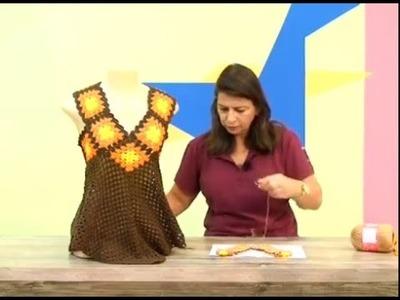 Blusa flor de lis em croche com camila fashion.Cristina Amaduro