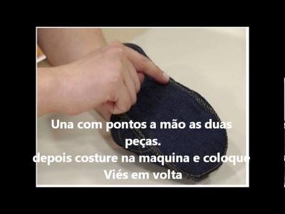 Artesanato Pantufas Jeans com tecnica metalasse