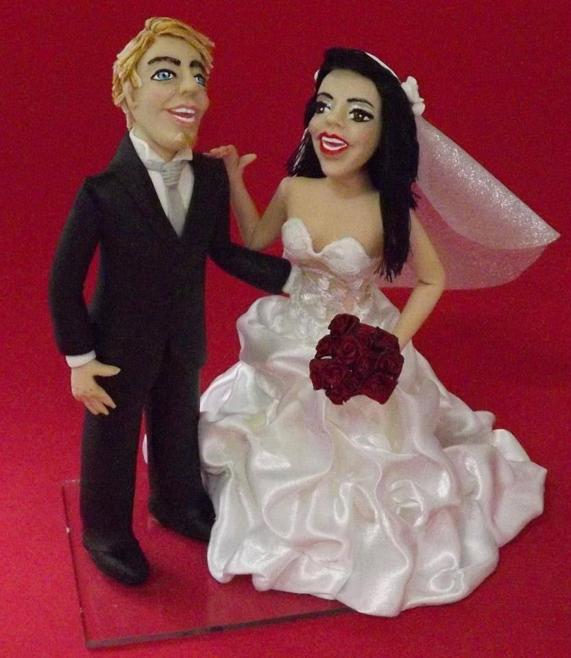 Casal de noivos humanizados feito com molde by Soraya