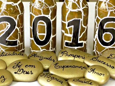 ENFEITE DE MESA PARA O ANO NOVO: garrafas decoradas do Compartilhando Arte