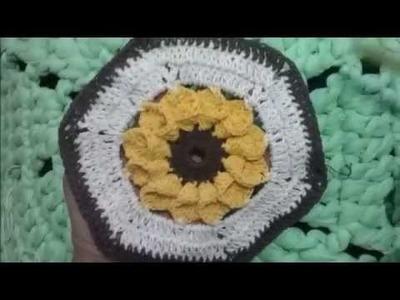 Flor- girassol dobrado em crochê| Artes com Carmem