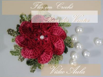 Flor Rosa dos Ventos ( Flores em Crochê)