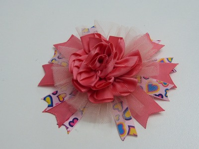 PAP FLORES, ROSAS,  FLOWERS TUTORIAL,  Flores en cintas,How to fabric flowers