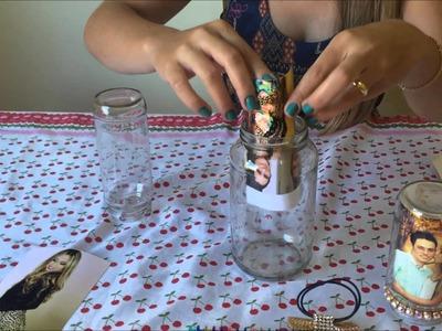 Faça você mesmo – Porta - retrato com potes de vidro.