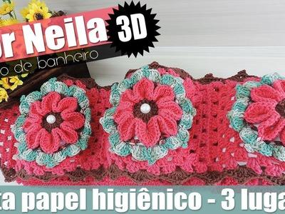 """Porta papel higiênico - Jogo de banheiro flor Neila 3D - 4.4 """"Soraia Bogossian"""""""