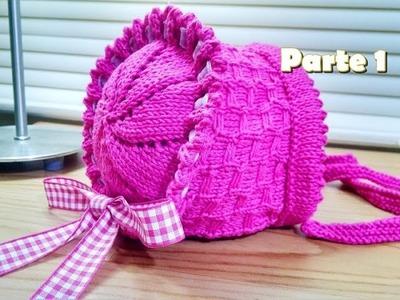 Tricô: Gorro Camponesa para bebê- (gorro de tricô.bebê)