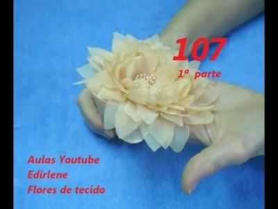 AULA 107: FLOR DE ORGANZA COM CENTRO DE PÉROLAS E CRISTAIS -1ª parte