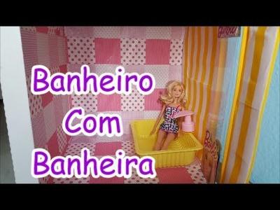 DIY -  Como Fazer Um Banheiro ( Com Banheira ) Para Boneca Barbie, Monster High,Frozen etc.