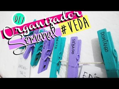 DIY.FAÇA VOCÊ MESMO: ORGANIZADOR SEMANAL COM PREGADORES | VEDA #1 - O Blog da Ka ♥