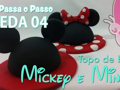 (DIY) Topo de Bolo Mickey e Minnie ( Topper cake ) - Sah  Passa o passo -#VEDA 04