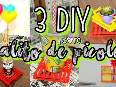 3 DIY com palito de picolé, Mini Pallet, Mini Caixote de feira e Porta Recado