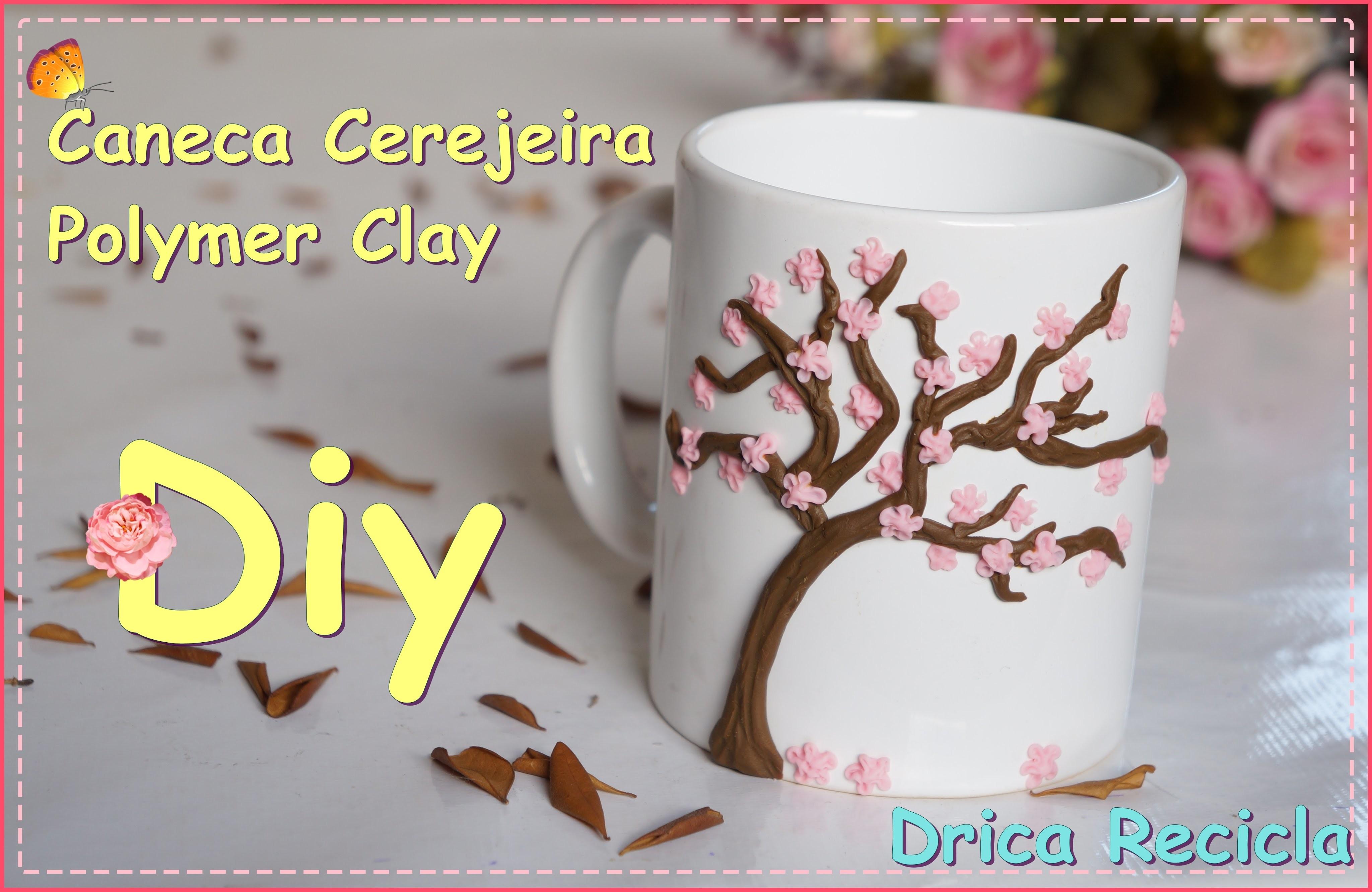 Diy Caneca Cerejeira Sakura Polymer Clay Mug Drica Recicla