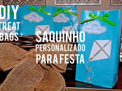 FAÇA VC MESMA SAQUINHO PERSONALIZADO PARA FESTA TEMA PIPA -  DIY TREAT BAGS KITE THEME