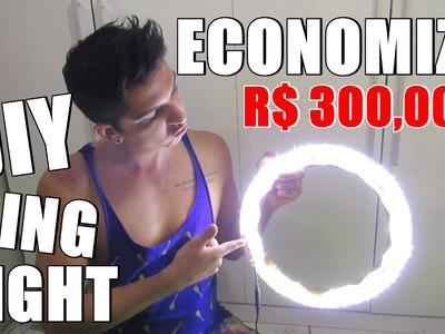 DIY RING LIGHT | ECONOMIZE R$ 300,00 | Como fazer uma iluminação incrível para fotos e  vídeos