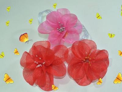 Flor feita com organza, muito fácil - DIY