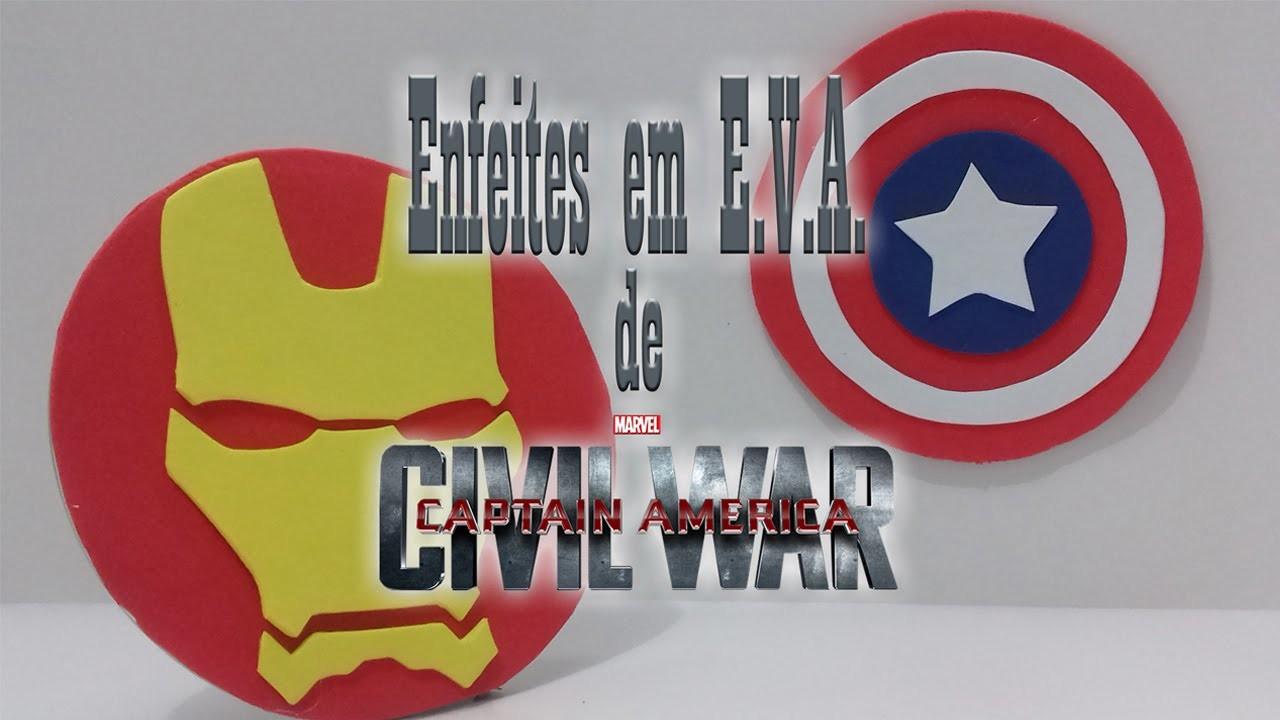DIY: Enfeites em E.V.A. Civil War Capitão América Guerra Civil