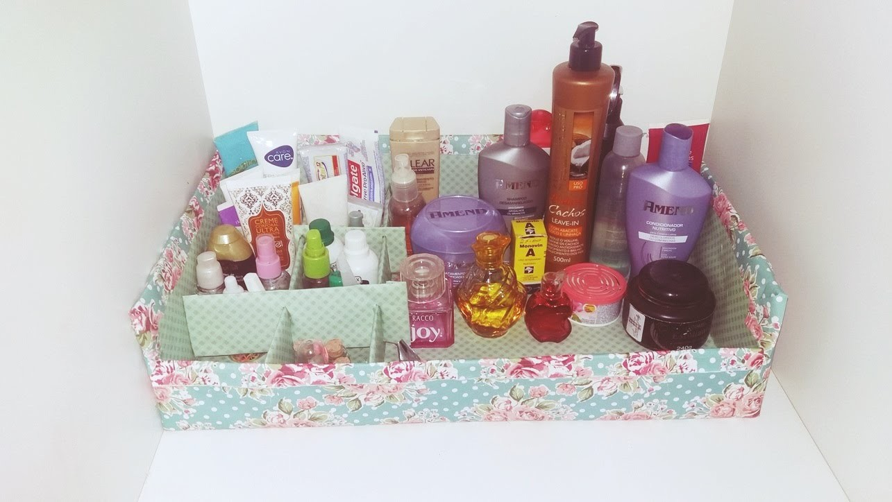 DIY: Organizador dos  produtos de beleza. Escritório.Maquillaje