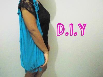D.I.Y: bolsa de franjas, feita com camiseta.