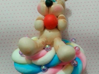 DIY - Porta pano de prato cupcake com ursinho