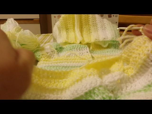 Casaco para bebe com capus 0.3 meses em croche 2 parte