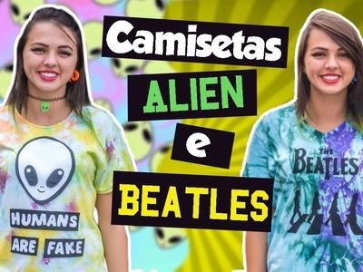 Customização: Camiseta Tie Dye Alien e Beatles | BIS DE CEREJA
