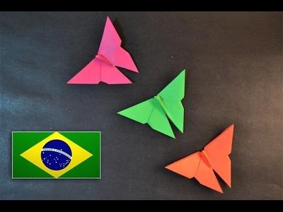 Origami: Borboleta Simples - Instruções em português PT BR