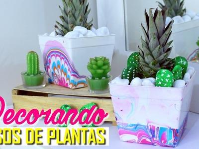 DIY: CUSTOMIZANDO VASOS DE PLANTAS COM ESMALTE + CACTOS DE PEDRAS | Por Lorena Lima