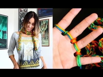 CACHECOL DE DEDO MUITO FÁCIL  (Finger knitting a scarf)