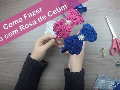 Como Fazer DIY  - Como Fazer Laço com Rosa de Cetim