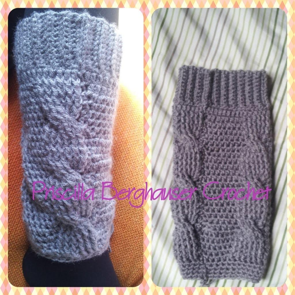 Polaina de croche com trança. Crochet Cable legwarmers