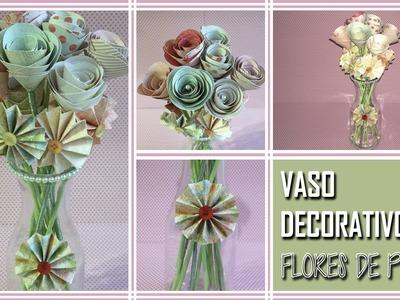 Vaso decorativo com flores de papel
