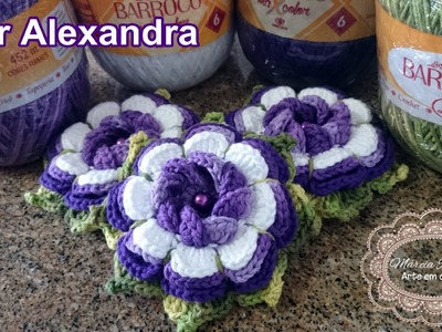 """Vídeo Aula - Flor Alexandra """"Marcia Rezende - Arte em Crochê"""""""