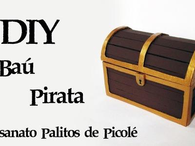DIY: Como Fazer um Baú do Tesouro Pirata (Artesanato palitos picolé) | Ideias Personalizadas - DIY