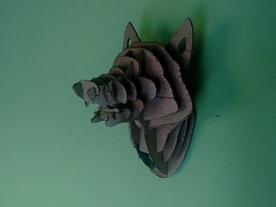 DIY - trofeu de caça de papelao (cabeça de lobo)