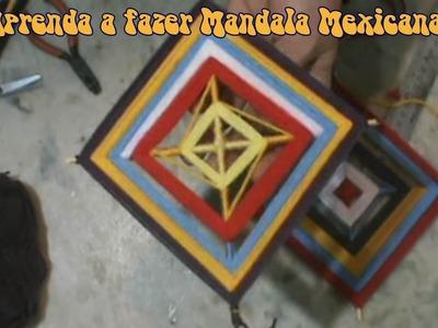 DIY  - Como fazer mandala mexicana  de  4 pontas (Olhos de Deus)