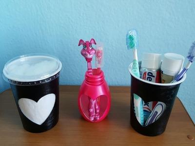 DIY - Como Fazer Organizador de Algodão e Escovas de Dentes.  ( TUDO RECICLADO )