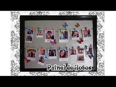 Como fazer painel de fotos usando quadro velho