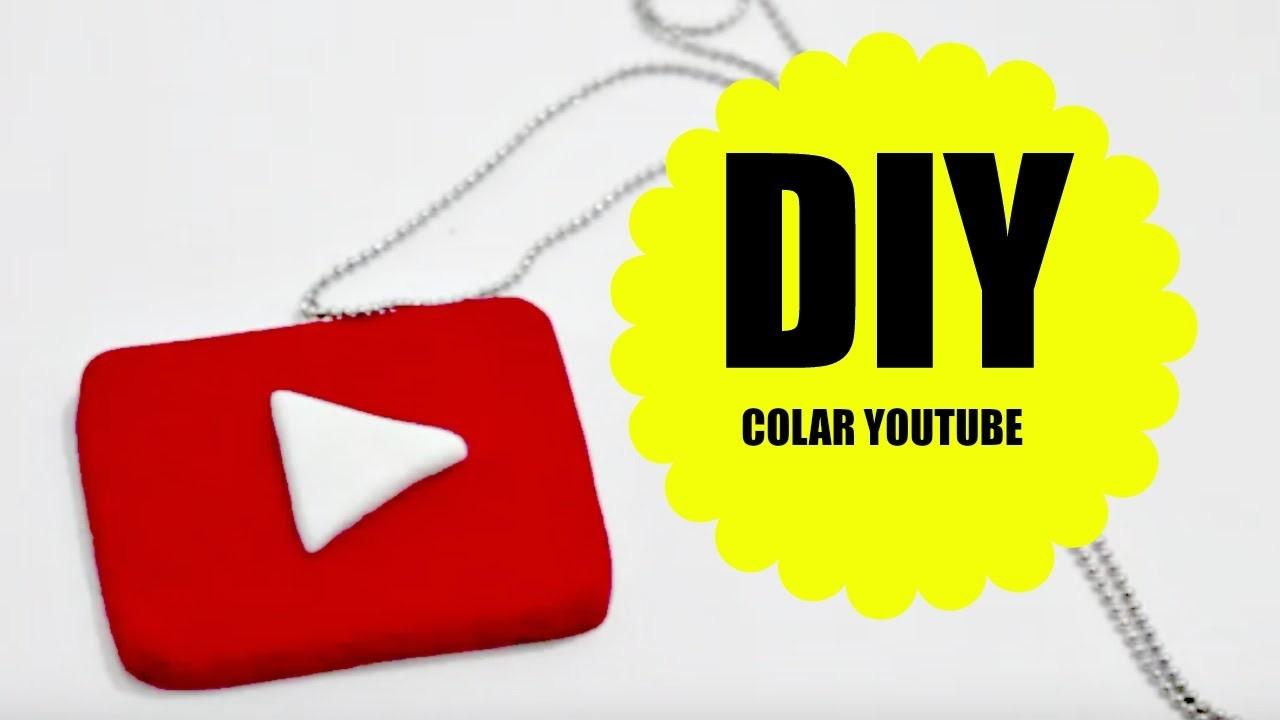 DIY- Colar botão do  YOUTUBE - Biscuit - Polymer clay - Necklace