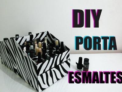 #DIY - Como fazer porta esmaltes de papelão com gavetas