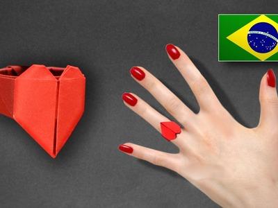 Origami: Anel de Coração - Instruções em Português PT BR