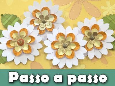 Como fazer flor de papel | Margarida 1 | Furadores | Tutorial | PAP | Passo a passo