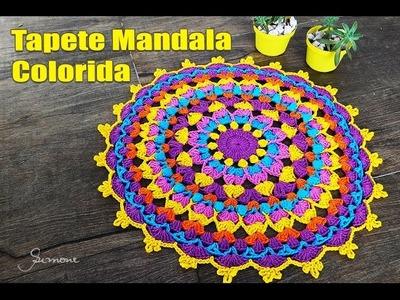 Tapete de Crochê Mandala Colorida Parte 2 - Simone Eleotério