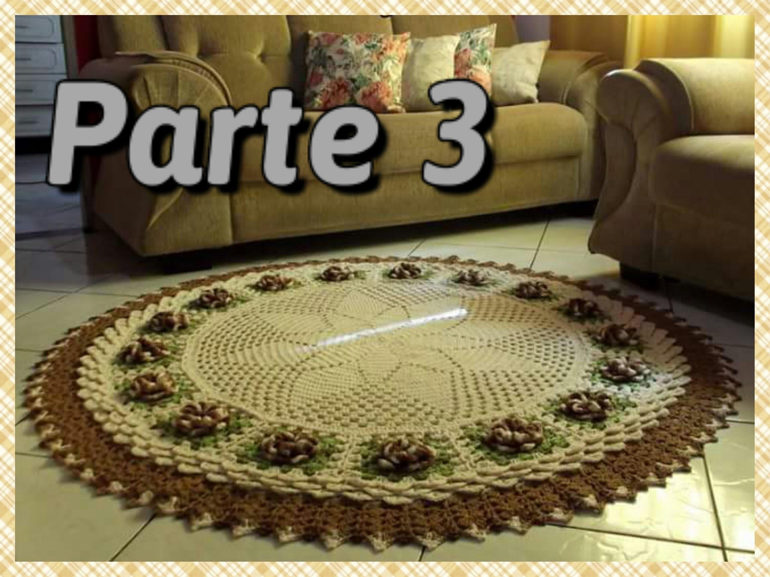 Tapete De Sala Em Croche Parte 3 Aplica O Das Flores Por Vanessa  -> Tapete Para Sala Croche