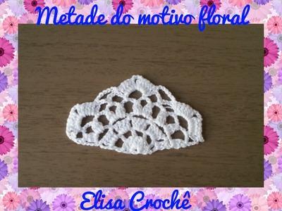 Meio motivo Floral para blusa em crochê # Elisa Crochê