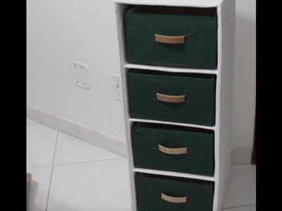 DIY Organizador de papelão com gavetas #parte2 ✂️ Artesanato