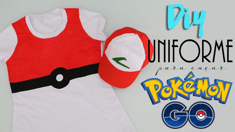 DIY: Uniforme Pokémon Go! - Camisa pokébola e boné do Ash!