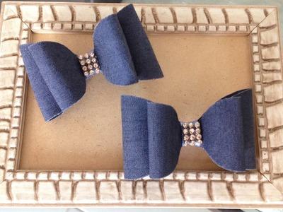 Laço Jeans - Laço Duro - Laço Engomado - DIY Denim Bow